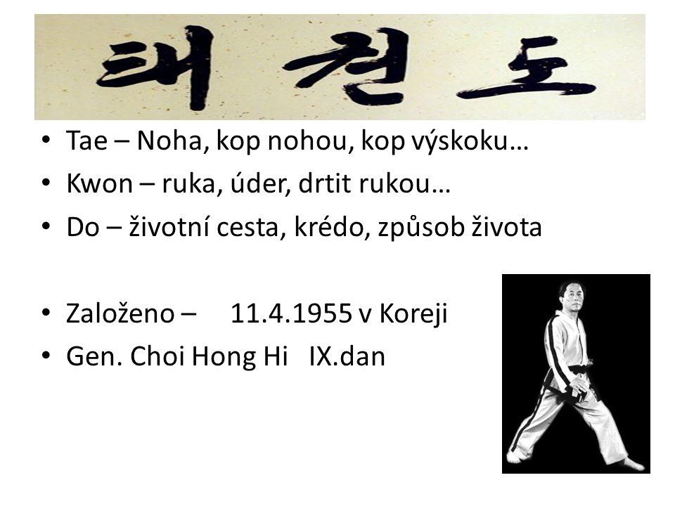 Tae – Noha, kop nohou, kop výskoku… Kwon – ruka, úder, drtit rukou… Do – životní cesta, krédo, způsob života Založeno – 11.4.1955 v Koreji Gen. Choi H