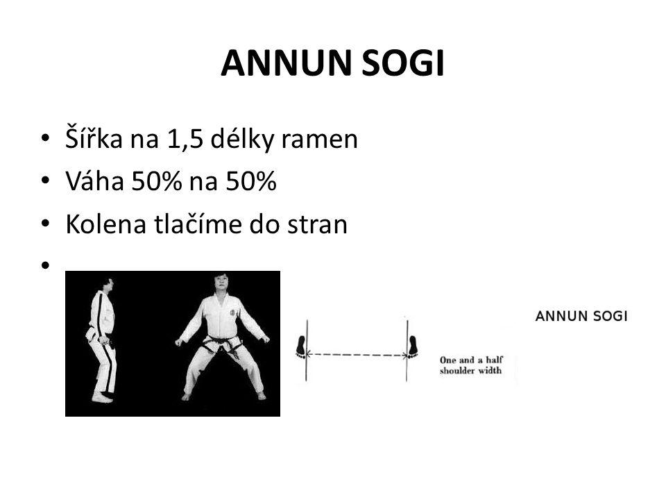 NIUNJA SOGI Dlouhý na 1,5 šířky ramen, široký max 5 cm Váha 70% zadní noha, 30% přední noha Zadní pokrčená noha nesmí.