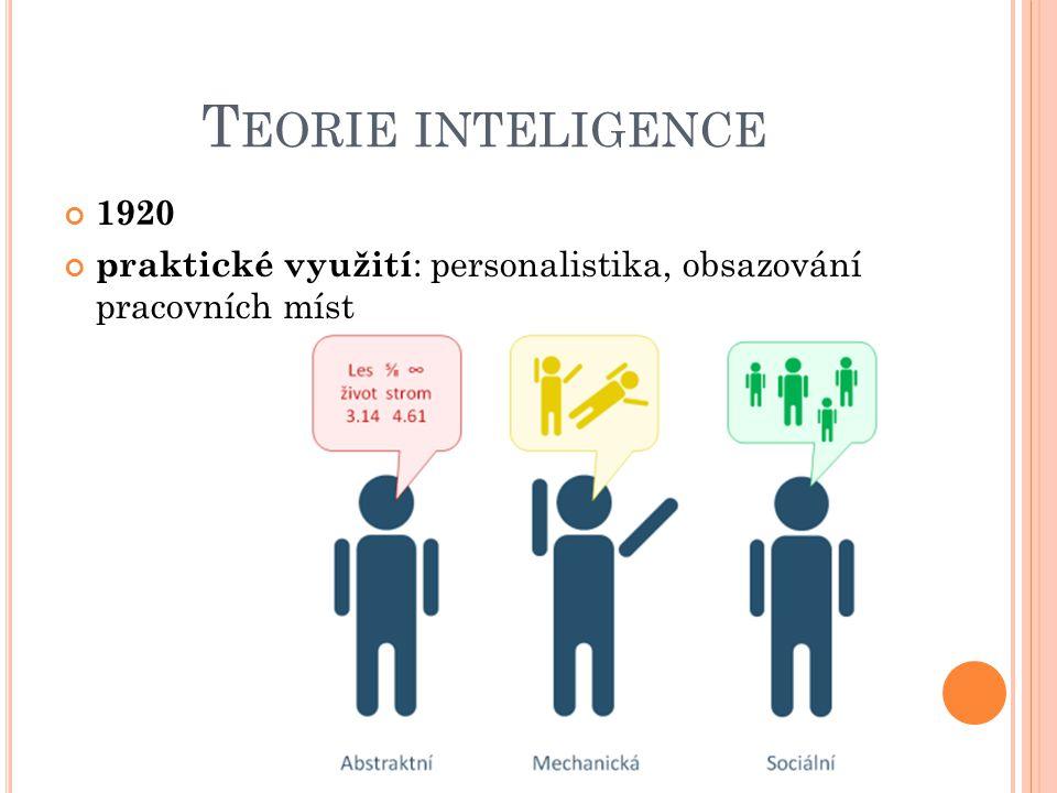 T EORIE INTELIGENCE 1920 praktické využití : personalistika, obsazování pracovních míst