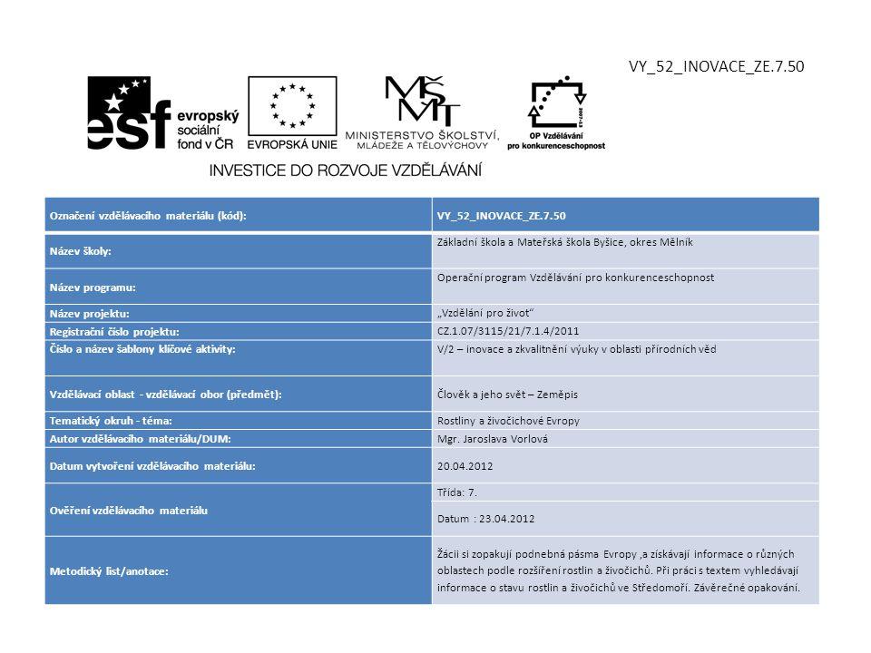 Označení vzdělávacího materiálu (kód):VY_52_INOVACE_ZE.7.50 Název školy: Základní škola a Mateřská škola Byšice, okres Mělník Název programu: Operační