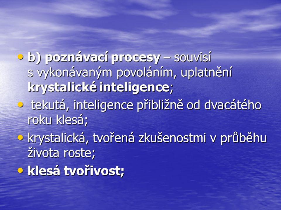 b) poznávací procesy – souvisí s vykonávaným povoláním, uplatnění krystalické inteligence; b) poznávací procesy – souvisí s vykonávaným povoláním, uplatnění krystalické inteligence; tekutá, inteligence přibližně od dvacátého roku klesá; tekutá, inteligence přibližně od dvacátého roku klesá; krystalická, tvořená zkušenostmi v průběhu života roste; krystalická, tvořená zkušenostmi v průběhu života roste; klesá tvořivost; klesá tvořivost;