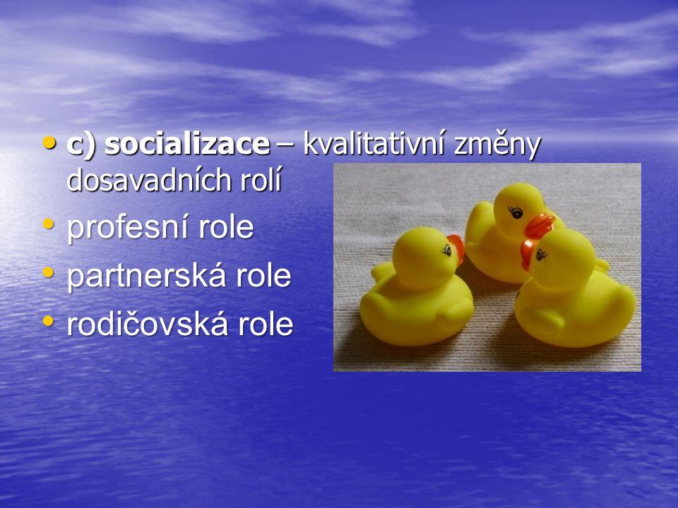 c) socializace – kvalitativní změny dosavadních rolí c) socializace – kvalitativní změny dosavadních rolí profesní role profesní role partnerská role partnerská role rodičovská role rodičovská role