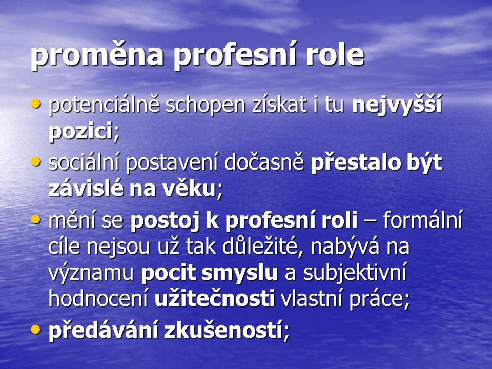 proměna profesní role potenciálně schopen získat i tu nejvyšší pozici; potenciálně schopen získat i tu nejvyšší pozici; sociální postavení dočasně pře