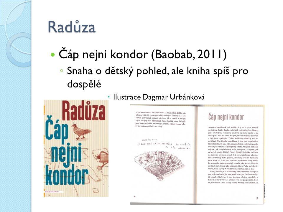 Radůza Čáp nejni kondor (Baobab, 2011) ◦ Snaha o dětský pohled, ale kniha spíš pro dospělé  Ilustrace Dagmar Urbánková