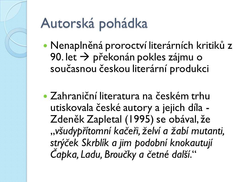 Autorská pohádka Nenaplněná proroctví literárních kritiků z 90. let  překonán pokles zájmu o současnou českou literární produkci Zahraniční literatur