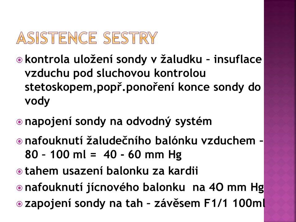  kontrola uložení sondy v žaludku – insuflace vzduchu pod sluchovou kontrolou stetoskopem,popř.ponoření konce sondy do vody  napojení sondy na odvodný systém  nafouknutí žaludečního balónku vzduchem – 80 – 100 ml = 40 - 60 mm Hg  tahem usazení balonku za kardii  nafouknutí jícnového balonku na 4O mm Hg  zapojení sondy na tah – závěsem F1/1 100ml
