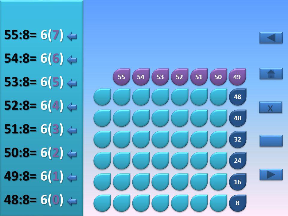 8 8 16 24 32 40 48 56 57 58 59 60 61 62 63 7(5) 56:8= 7(0) 57:8= 7(1) 58:8= 7(2) 59:8= 7(3) 60:8= 7(4) 61:8= x x 7(6) 62:8= 7(7) 63:8=