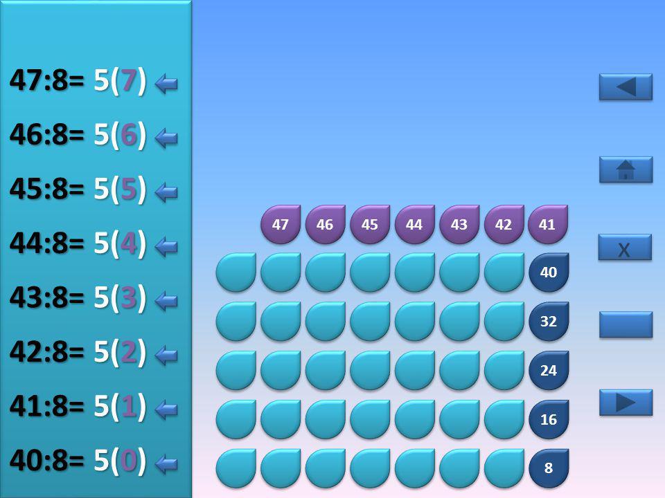 8 8 16 24 32 40 48 49 50 51 52 53 54 55 6(5) 48:8= 6(0) 49:8= 6(1) 50:8= 6(2) 51:8= 6(3) 52:8= 6(4) 53:8= x x 6(6) 54:8= 6(7) 55:8=