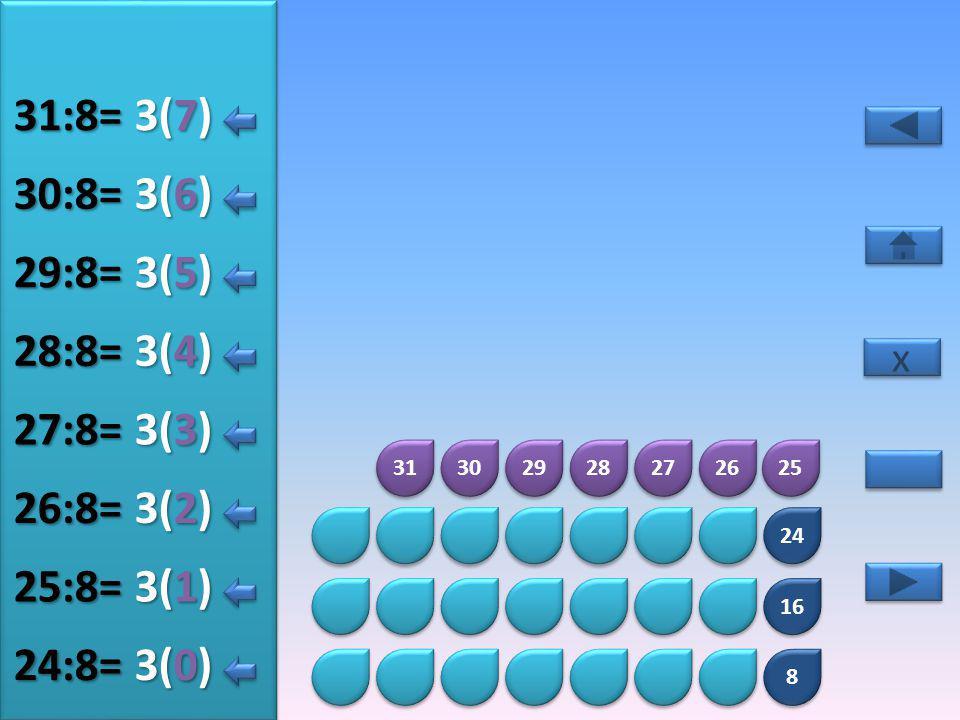8 8 16 24 32 33 34 35 36 37 38 39 4(5) 32:8= 4(0) 33:8= 4(1) 34:8= 4(2) 35:8= 4(3) 36:8= 4(4) 37:8= x x 4(6) 38:8= 4(7) 39:8=