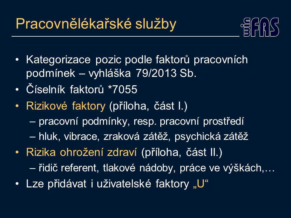 Pracovnělékařské služby Kategorizace pozic podle faktorů pracovních podmínek – vyhláška 79/2013 Sb.