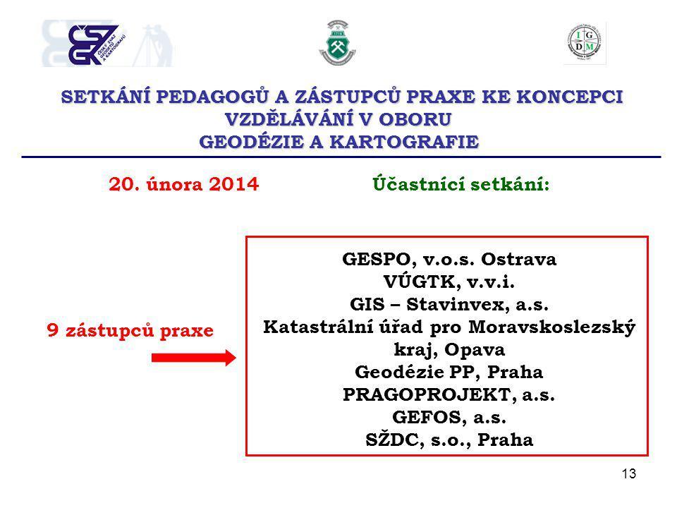 13 SETKÁNÍ PEDAGOGŮ A ZÁSTUPCŮ PRAXE KE KONCEPCI VZDĚLÁVÁNÍ V OBORU GEODÉZIE A KARTOGRAFIE 20. února 2014Účastnící setkání: 9 zástupců praxe GESPO, v.