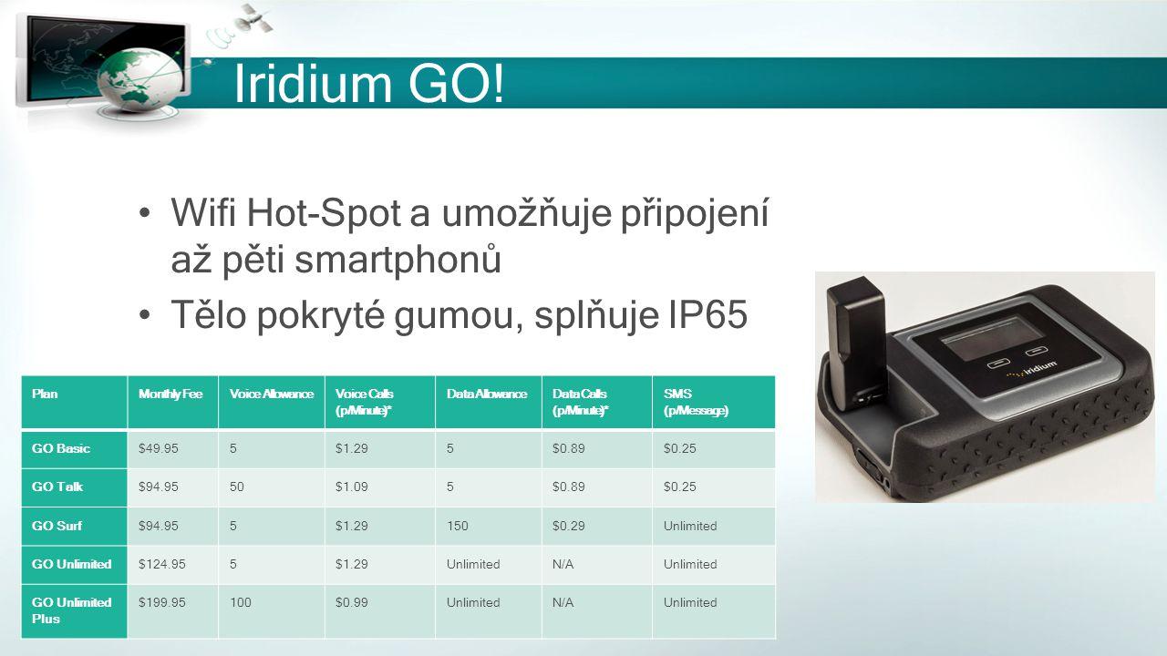 Iridium GO! Wifi Hot-Spot a umožňuje připojení až pěti smartphonů Tělo pokryté gumou, splňuje IP65 PlanMonthly FeeVoice Allowance Voice Calls (p/Minut
