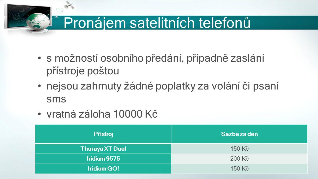 Pronájem satelitních telefonů s možností osobního předání, případně zaslání přístroje poštou nejsou zahrnuty žádné poplatky za volání či psaní sms vra