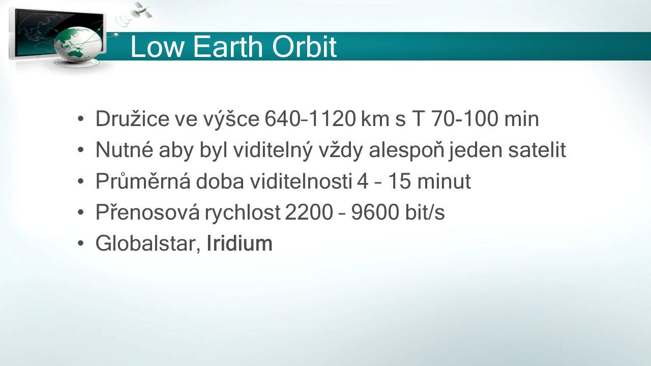 Low Earth Orbit Družice ve výšce 640–1120 km s T 70-100 min Nutné aby byl viditelný vždy alespoň jeden satelit Průměrná doba viditelnosti 4 – 15 minut