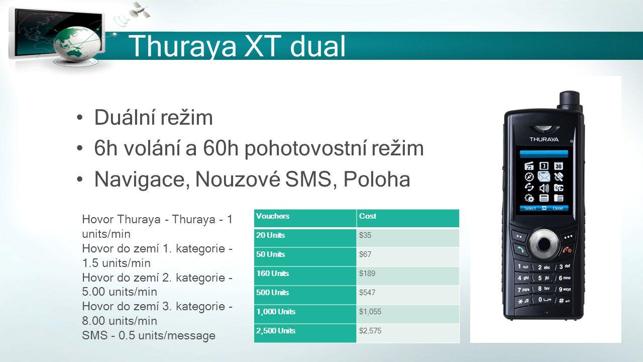 Thuraya XT dual Duální režim 6h volání a 60h pohotovostní režim Navigace, Nouzové SMS, Poloha VouchersCost 20 Units$35 50 Units$67 160 Units$189 500 U