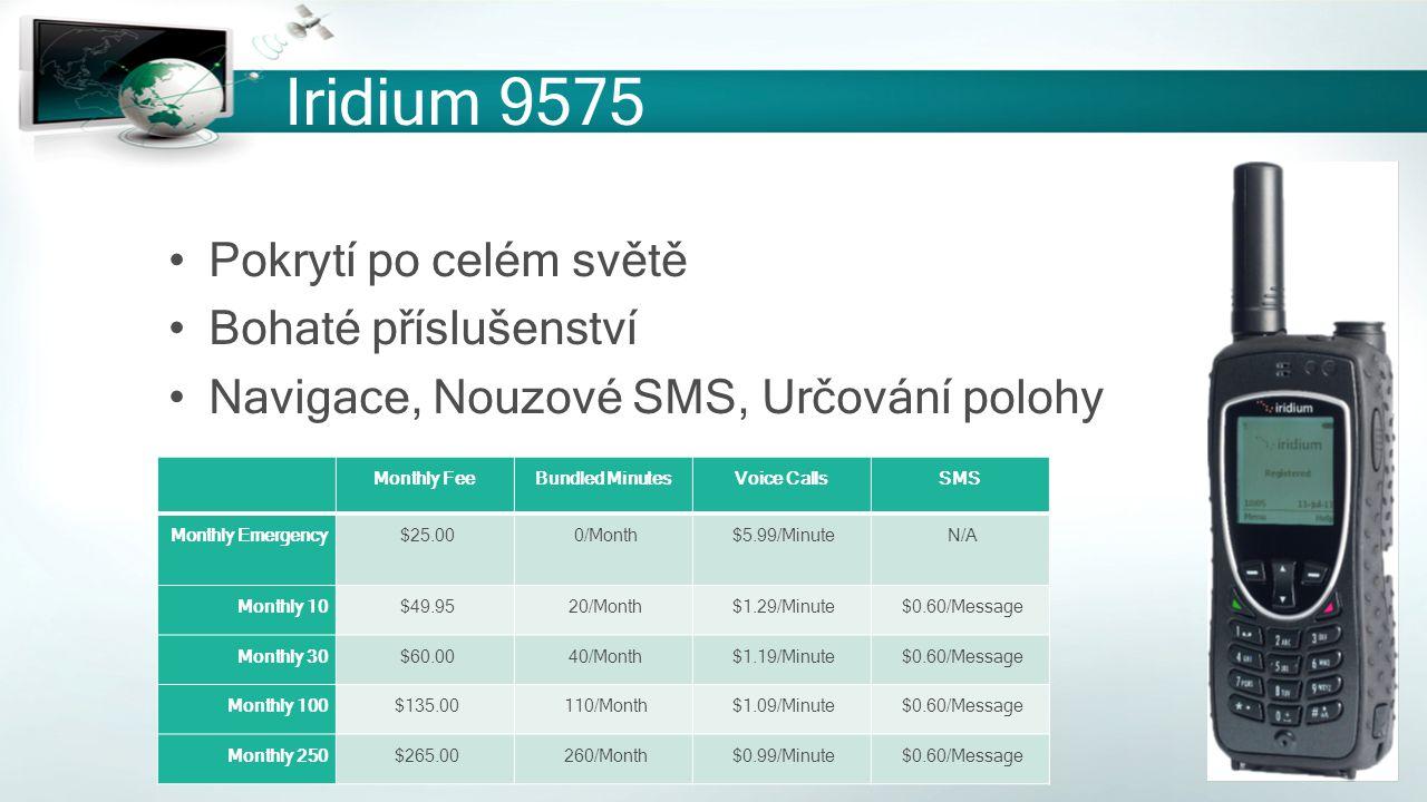 Iridium 9575 Pokrytí po celém světě Bohaté příslušenství Navigace, Nouzové SMS, Určování polohy Monthly FeeBundled MinutesVoice CallsSMS Monthly Emerg