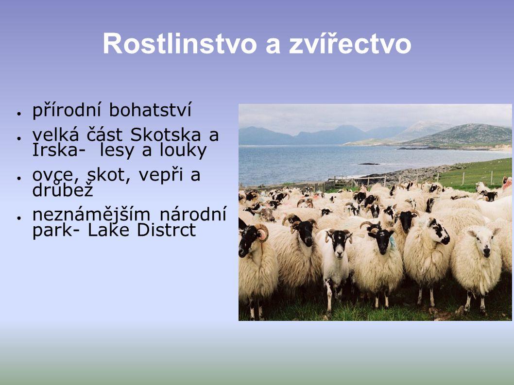 Rostlinstvo a zvířectvo ● přírodní bohatství ● velká část Skotska a Irska- lesy a louky ● ovce, skot, vepři a drůbež ● neznámějším národní park- Lake