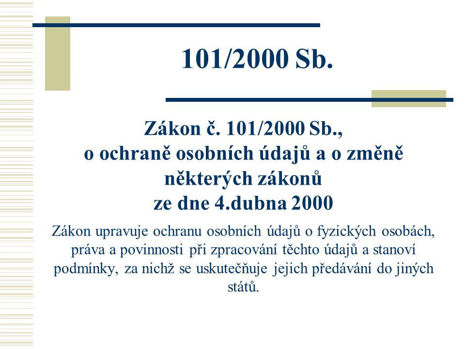 101/2000 Sb. Zákon č. 101/2000 Sb., o ochraně osobních údajů a o změně některých zákonů ze dne 4.dubna 2000 Zákon upravuje ochranu osobních údajů o fy