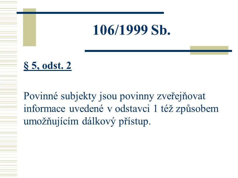 106/1999 Sb. § 5, odst. 2 Povinné subjekty jsou povinny zveřejňovat informace uvedené v odstavci 1 též způsobem umožňujícím dálkový přístup.