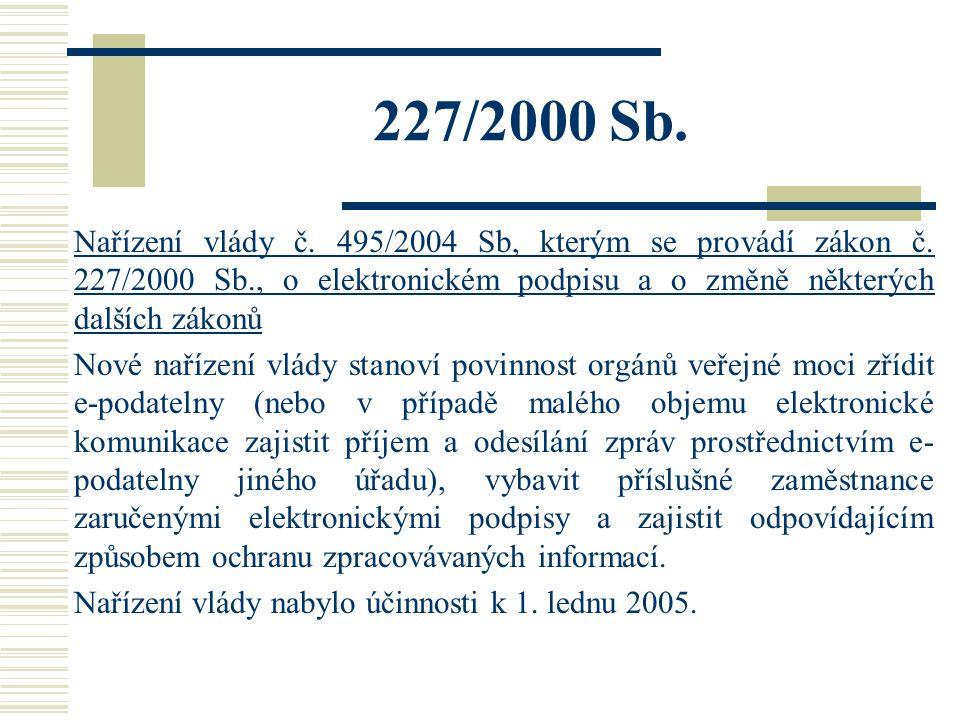 227/2000 Sb. Nařízení vlády č. 495/2004 Sb, kterým se provádí zákon č. 227/2000 Sb., o elektronickém podpisu a o změně některých dalších zákonů Nové n