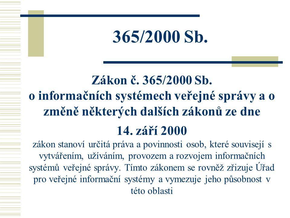 365/2000 Sb. Zákon č. 365/2000 Sb. o informačních systémech veřejné správy a o změně některých dalších zákonů ze dne 14. září 2000 zákon stanoví určit