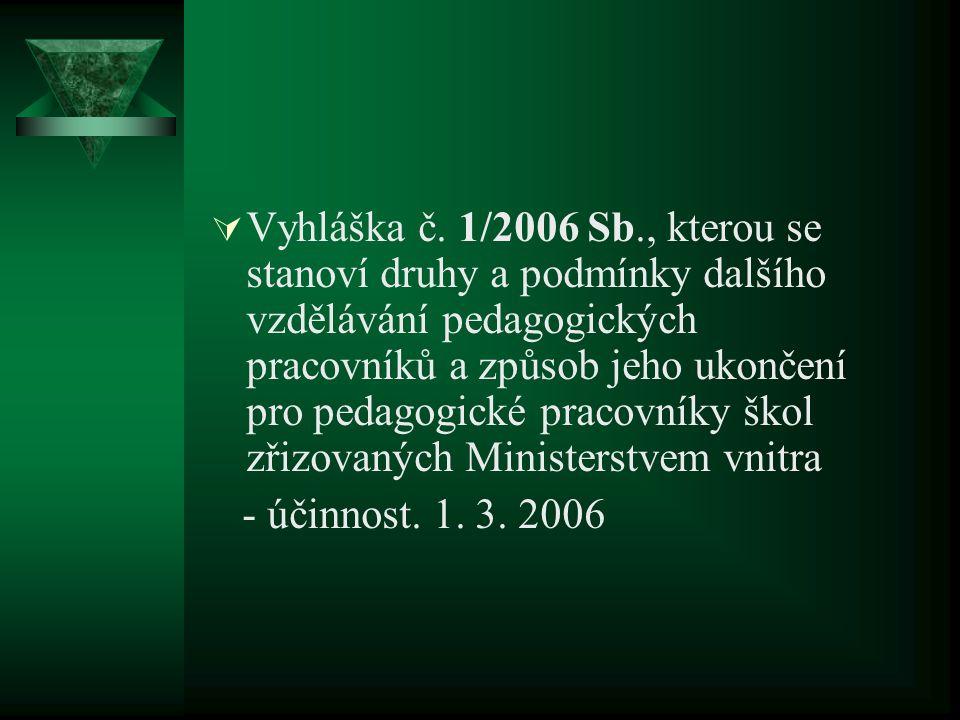  Vyhláška č. 1/2006 Sb., kterou se stanoví druhy a podmínky dalšího vzdělávání pedagogických pracovníků a způsob jeho ukončení pro pedagogické pracov