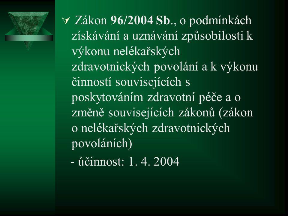  Zákon 96/2004 Sb., o podmínkách získávání a uznávání způsobilosti k výkonu nelékařských zdravotnických povolání a k výkonu činností souvisejících s poskytováním zdravotní péče a o změně souvisejících zákonů (zákon o nelékařských zdravotnických povoláních) - účinnost: 1.
