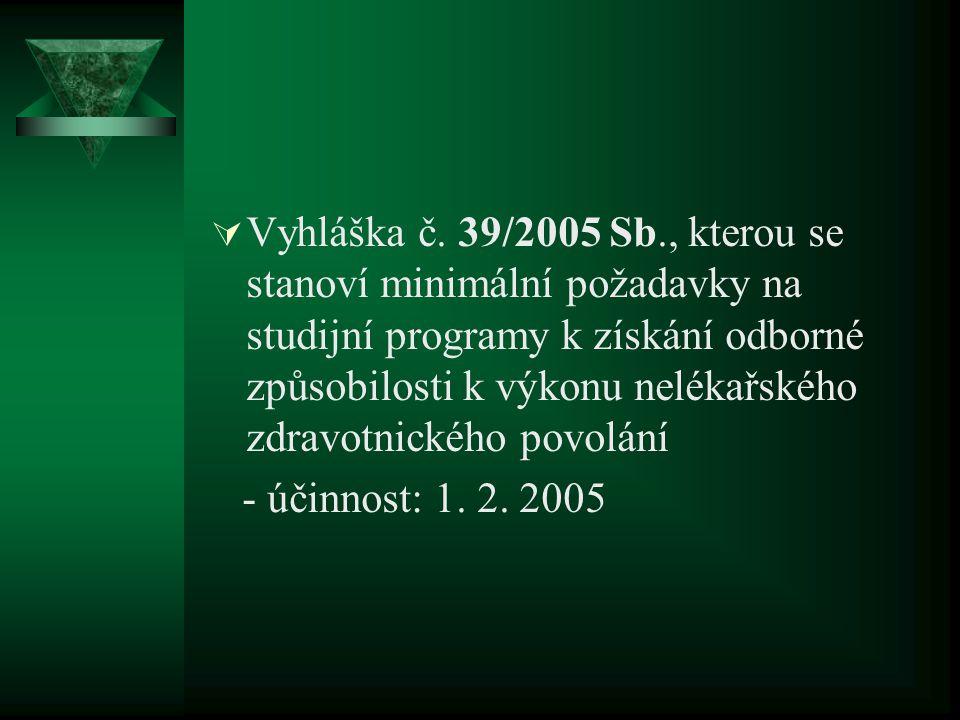  Vyhláška č. 39/2005 Sb., kterou se stanoví minimální požadavky na studijní programy k získání odborné způsobilosti k výkonu nelékařského zdravotnick