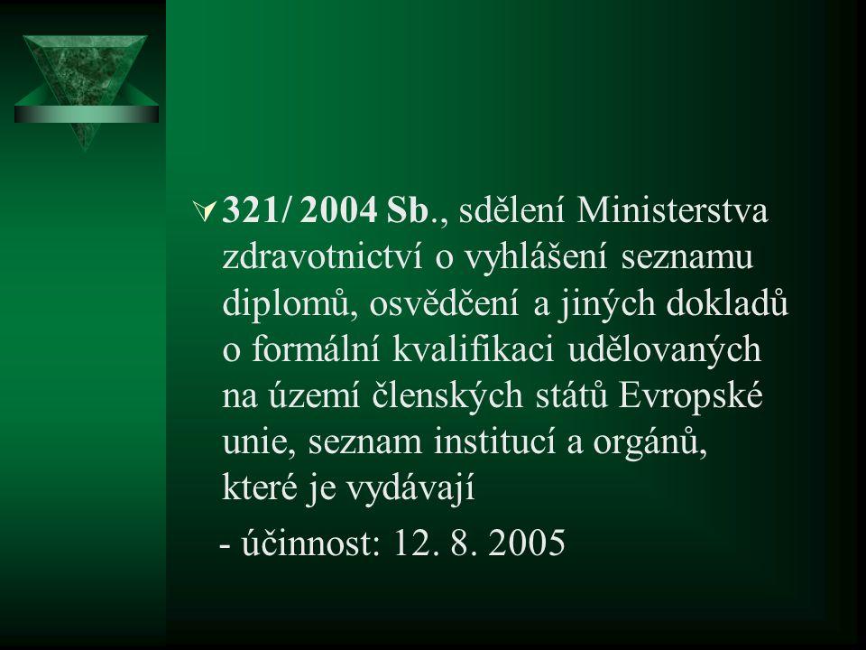  321/ 2004 Sb., sdělení Ministerstva zdravotnictví o vyhlášení seznamu diplomů, osvědčení a jiných dokladů o formální kvalifikaci udělovaných na území členských států Evropské unie, seznam institucí a orgánů, které je vydávají - účinnost: 12.