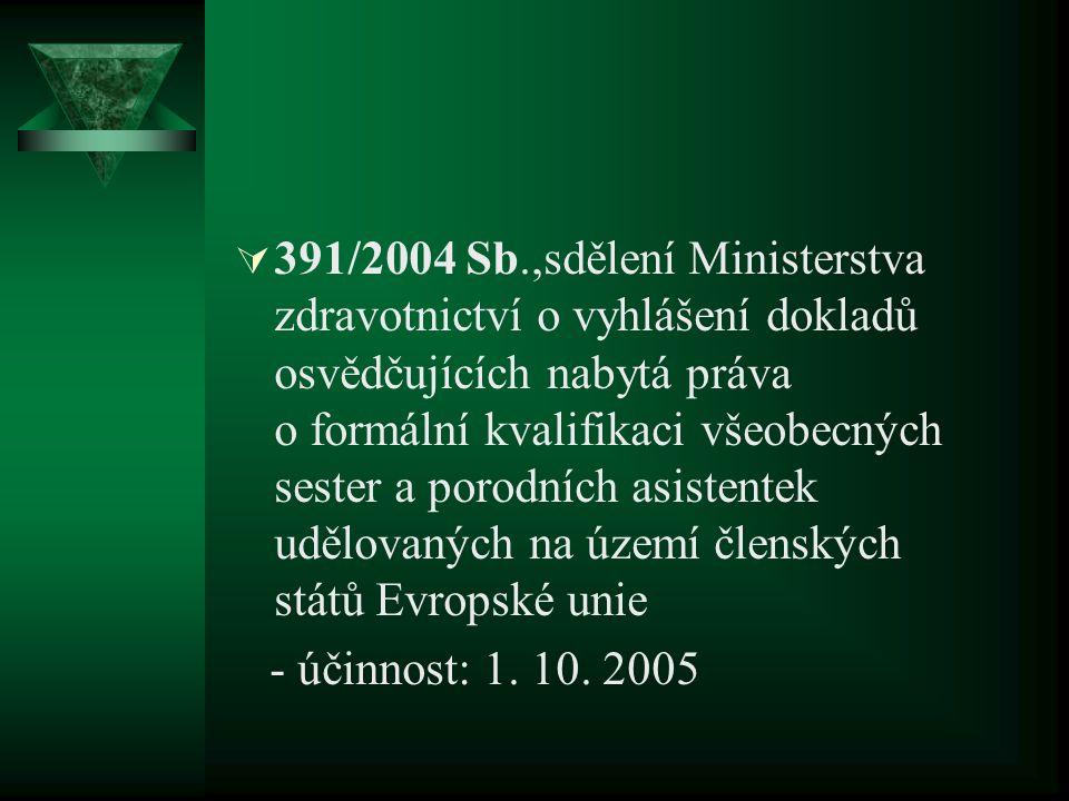  391/2004 Sb.,sdělení Ministerstva zdravotnictví o vyhlášení dokladů osvědčujících nabytá práva o formální kvalifikaci všeobecných sester a porodních asistentek udělovaných na území členských států Evropské unie - účinnost: 1.