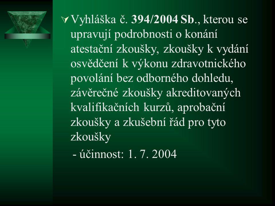  Vyhláška č. 394/2004 Sb., kterou se upravují podrobnosti o konání atestační zkoušky, zkoušky k vydání osvědčení k výkonu zdravotnického povolání bez