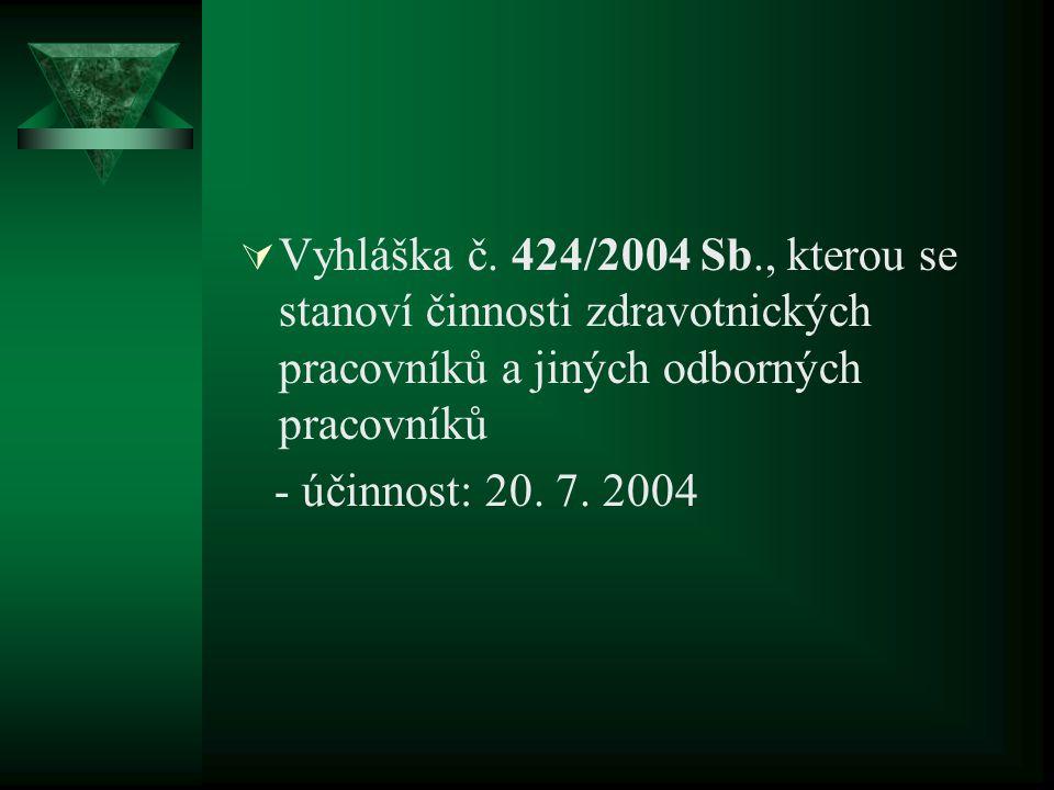  Vyhláška č. 424/2004 Sb., kterou se stanoví činnosti zdravotnických pracovníků a jiných odborných pracovníků - účinnost: 20. 7. 2004