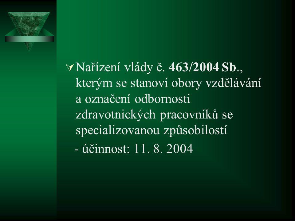  Nařízení vlády č. 463/2004 Sb., kterým se stanoví obory vzdělávání a označení odbornosti zdravotnických pracovníků se specializovanou způsobilostí -