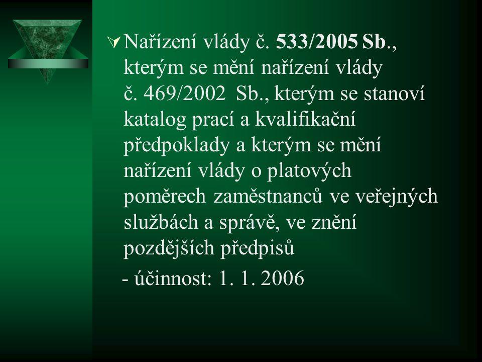  Nařízení vlády č. 533/2005 Sb., kterým se mění nařízení vlády č. 469/2002 Sb., kterým se stanoví katalog prací a kvalifikační předpoklady a kterým s