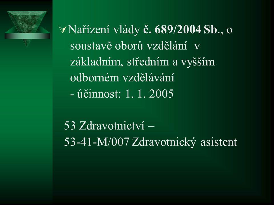  Nařízení vlády č. 689/2004 Sb., o soustavě oborů vzdělání v základním, středním a vyšším odborném vzdělávání - účinnost: 1. 1. 2005 53 Zdravotnictví