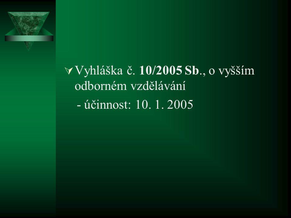  Vyhláška č. 10/2005 Sb., o vyšším odborném vzdělávání - účinnost: 10. 1. 2005