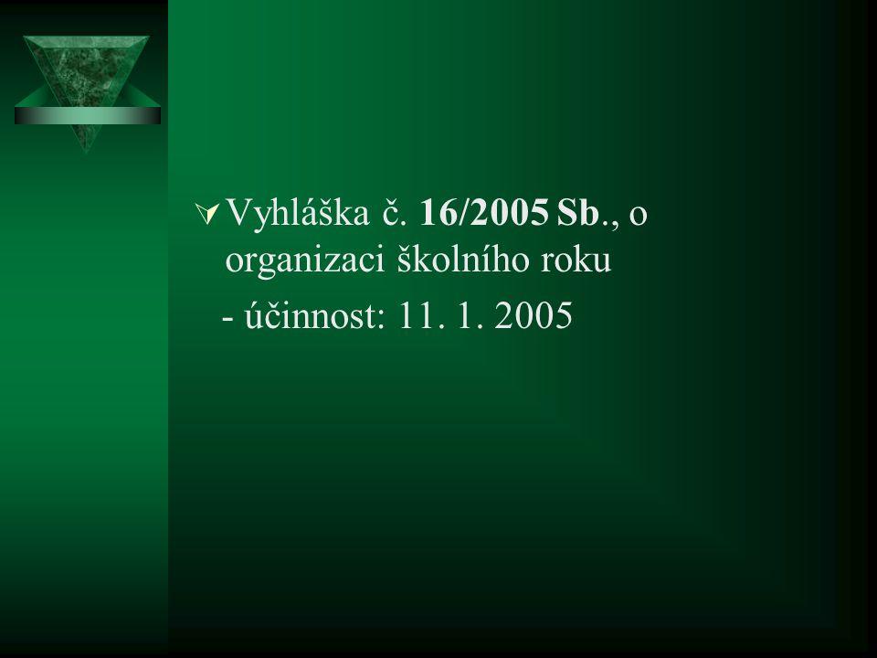  Vyhláška č. 16/2005 Sb., o organizaci školního roku - účinnost: 11. 1. 2005