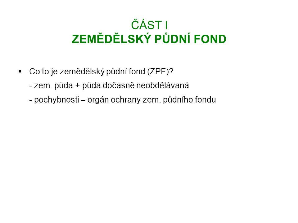 ČÁST I ZEMĚDĚLSKÝ PŮDNÍ FOND  Co to je zemědělský půdní fond (ZPF).
