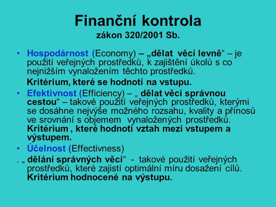 """Finanční kontrola zákon 320/2001 Sb. Hospodárnost (Economy) – """"dělat věci levně"""" – je použití veřejných prostředků, k zajištění úkolů s co nejnižším v"""