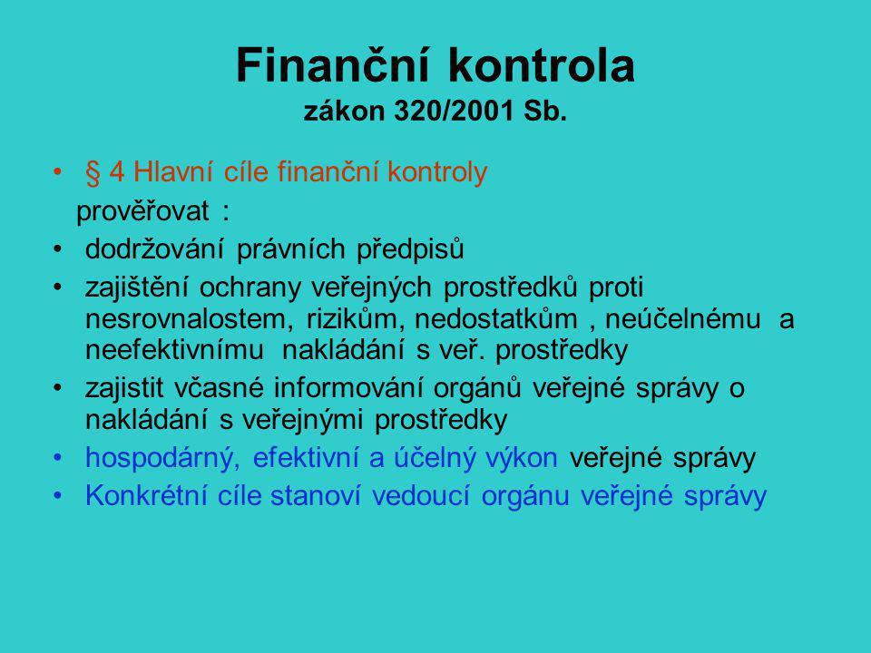 Finanční kontrola zákon 320/2001 Sb. § 4 Hlavní cíle finanční kontroly prověřovat : dodržování právních předpisů zajištění ochrany veřejných prostředk