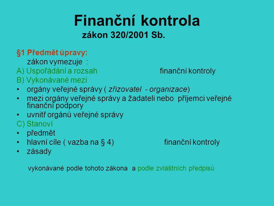 Finanční kontrola zákon 320/2001 Sb. §1 Předmět úpravy: zákon vymezuje : A) Uspořádání a rozsah finanční kontroly B) Vykonávané mezi orgány veřejné sp
