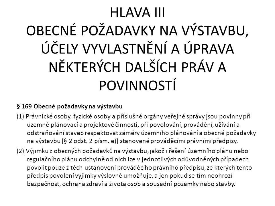 HLAVA III OBECNÉ POŽADAVKY NA VÝSTAVBU, ÚČELY VYVLASTNĚNÍ A ÚPRAVA NĚKTERÝCH DALŠÍCH PRÁV A POVINNOSTÍ § 169 Obecné požadavky na výstavbu (1) Právnick