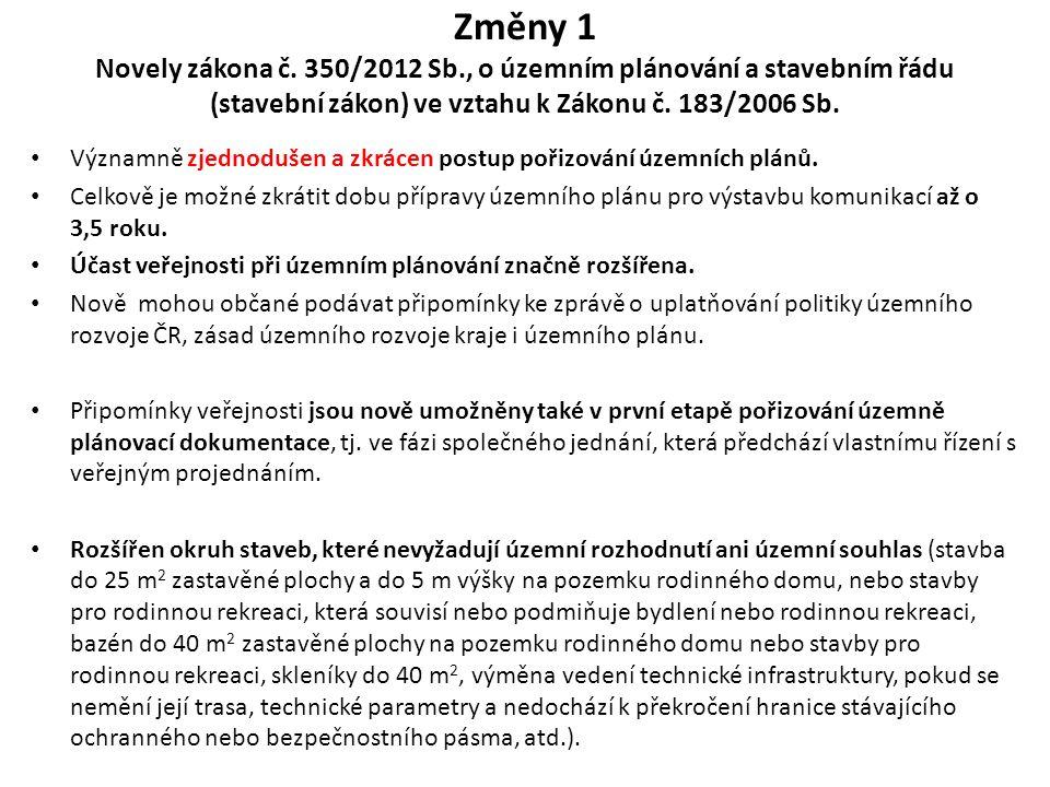 Změny 1 Novely zákona č. 350/2012 Sb., o územním plánování a stavebním řádu (stavební zákon) ve vztahu k Zákonu č. 183/2006 Sb. Významně zjednodušen a