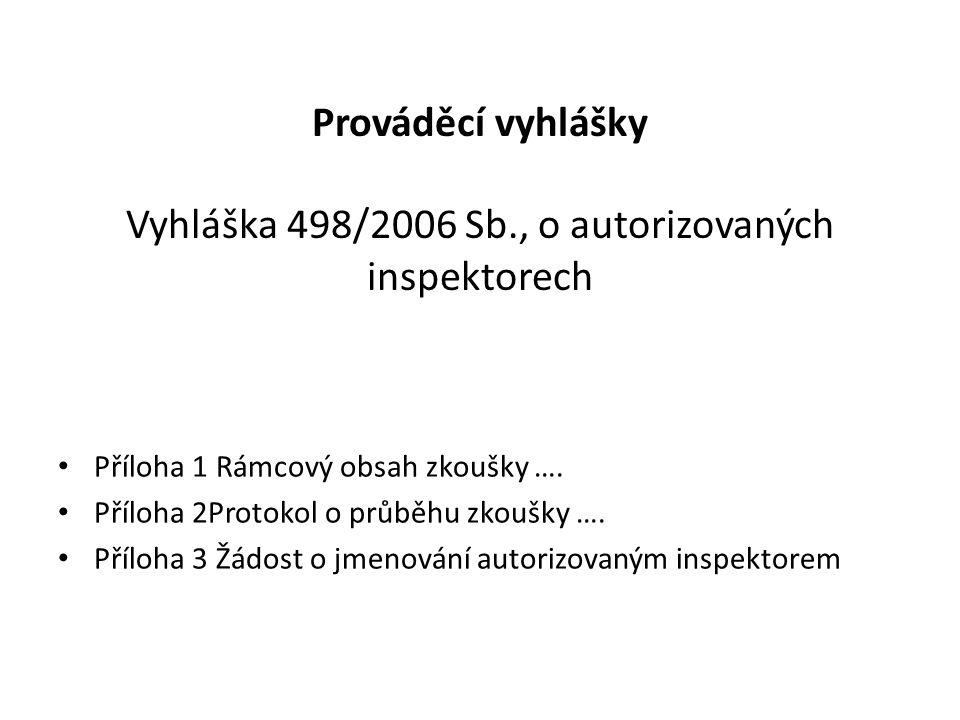 Prováděcí vyhlášky Vyhláška 498/2006 Sb., o autorizovaných inspektorech Příloha 1 Rámcový obsah zkoušky …. Příloha 2Protokol o průběhu zkoušky …. Příl