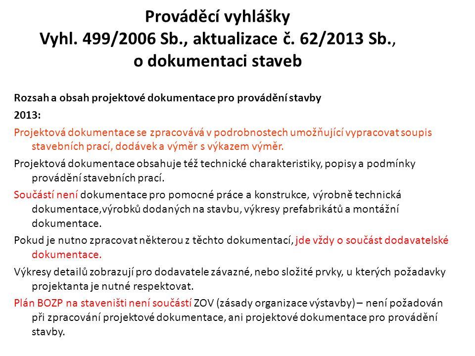 Prováděcí vyhlášky Vyhl. 499/2006 Sb., aktualizace č. 62/2013 Sb., o dokumentaci staveb Rozsah a obsah projektové dokumentace pro provádění stavby 201