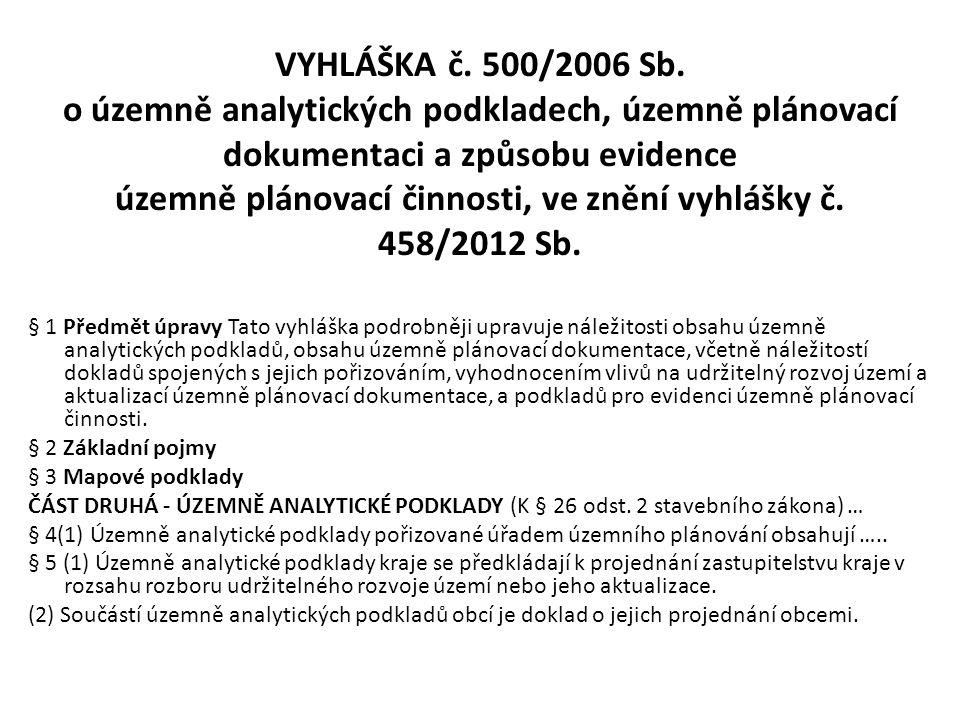VYHLÁŠKA č. 500/2006 Sb. o územně analytických podkladech, územně plánovací dokumentaci a způsobu evidence územně plánovací činnosti, ve znění vyhlášk