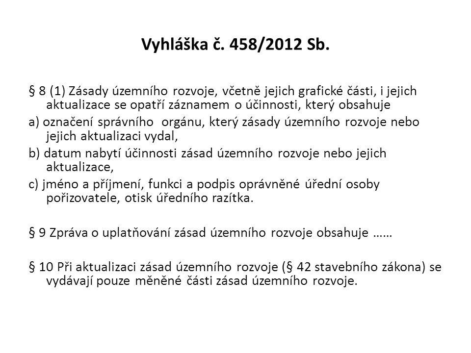 Vyhláška č. 458/2012 Sb. § 8 (1) Zásady územního rozvoje, včetně jejich grafické části, i jejich aktualizace se opatří záznamem o účinnosti, který obs