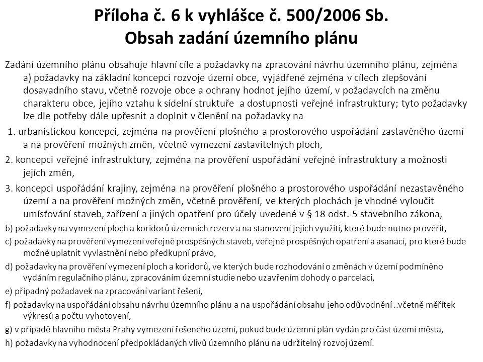 Příloha č. 6 k vyhlášce č. 500/2006 Sb. Obsah zadání územního plánu Zadání územního plánu obsahuje hlavní cíle a požadavky na zpracování návrhu územní