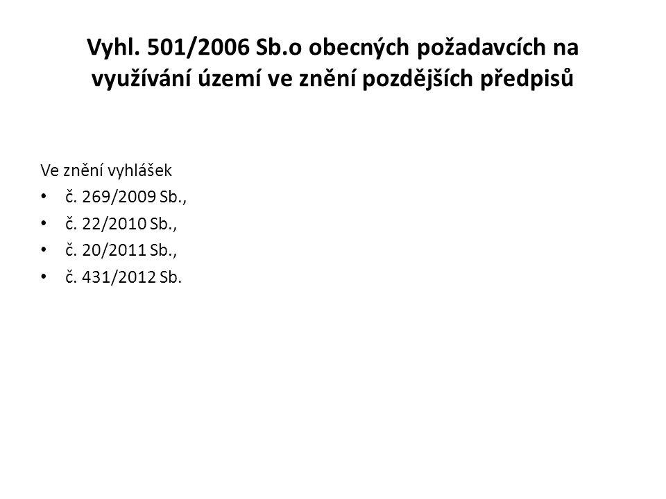 Vyhl. 501/2006 Sb.o obecných požadavcích na využívání území ve znění pozdějších předpisů Ve znění vyhlášek č. 269/2009 Sb., č. 22/2010 Sb., č. 20/2011