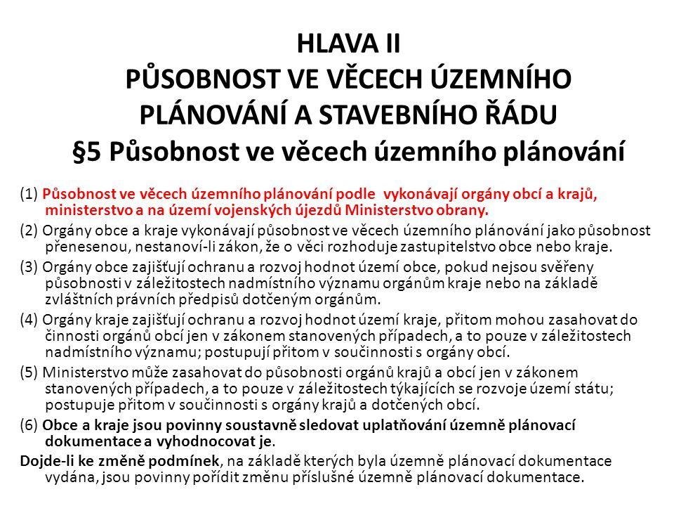 HLAVA II PŮSOBNOST VE VĚCECH ÚZEMNÍHO PLÁNOVÁNÍ A STAVEBNÍHO ŘÁDU §5 Působnost ve věcech územního plánování (1) Působnost ve věcech územního plánování
